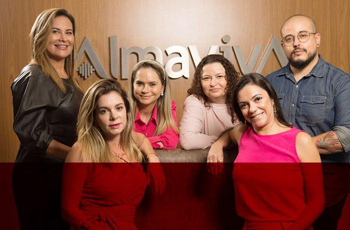 Da esquerda para a direita: Aline Ferraz, Carolina Perez, Maria Leiro, Eliana Gonçalves, Carina Novaes e Renato Neto