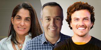 Fabiana Schaeffer, cofundadora da Netza e Circle Aceleradora de Martechs, André Fonseca, CEO e cofundador da Bornlogic, e Gian Martinez, cofundador e CEO da Winnin