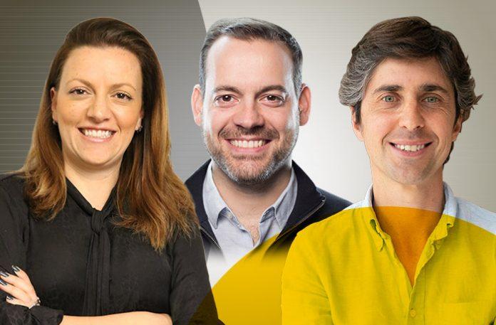 Flávia Amuri Varga, head de inovação da Mapfre, Felipe Novaes, sócio e cofundador da The Bakery, e Matías Fernández Barrio, cofundador e CEO da Karvi