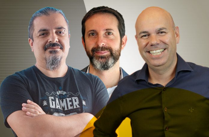 Carlos Silva, head of gaming e sócio na GoGamers, Fernando Chamis, CEO da Webcore Games, e Glaucio Marques, CEO da Level Up